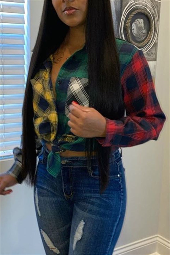 Color Patchwork Plaid Long Sleeve Shirt