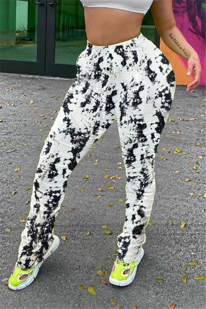 Tie Dye High Waist Scrunched Pants