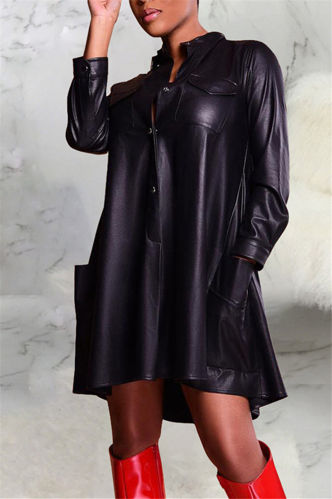 PU Solid Color Button Up Long Sleeve Dress