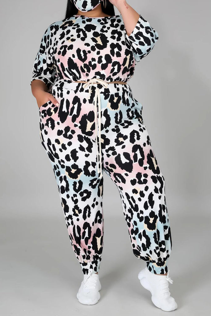 Plus Size Leopard Print Drawstring Top & Pants