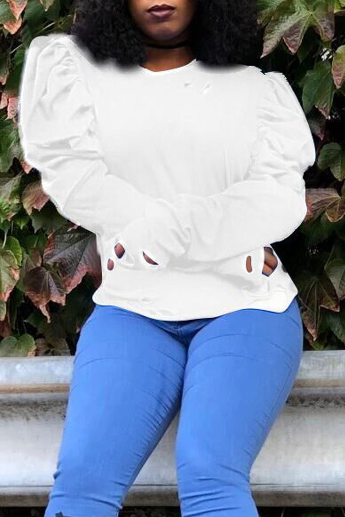 Plus Size Hollow Out Puff Sleeve Top