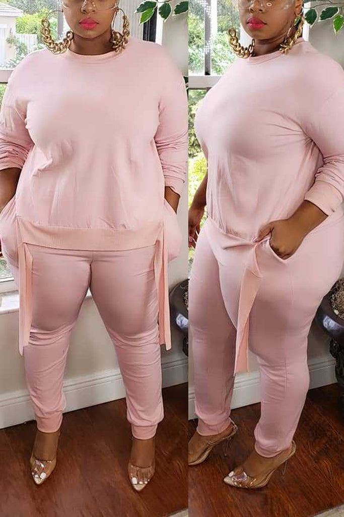 Plus Size Round Neck Pocket Two Piece Sets