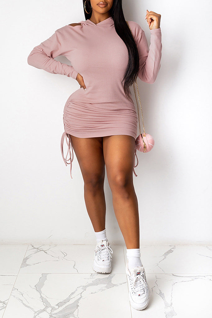 Cold Shoulder Hooded Collar Tie Up Dress