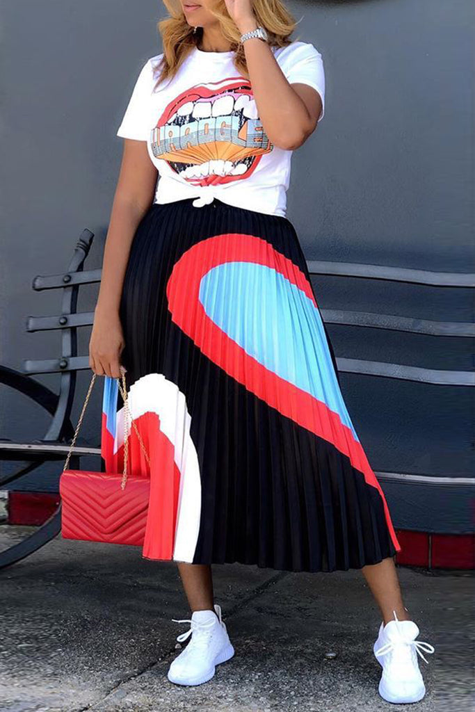 Color Block Lip Print High Waist Top & Pleated Skirts