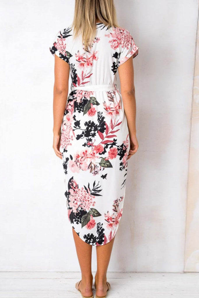 Geometric Print Plus Size Slit Belted Midi Dress