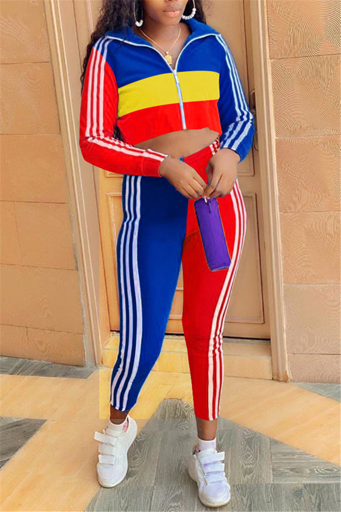 Color Block Side Striped Zip Up Top & Pants