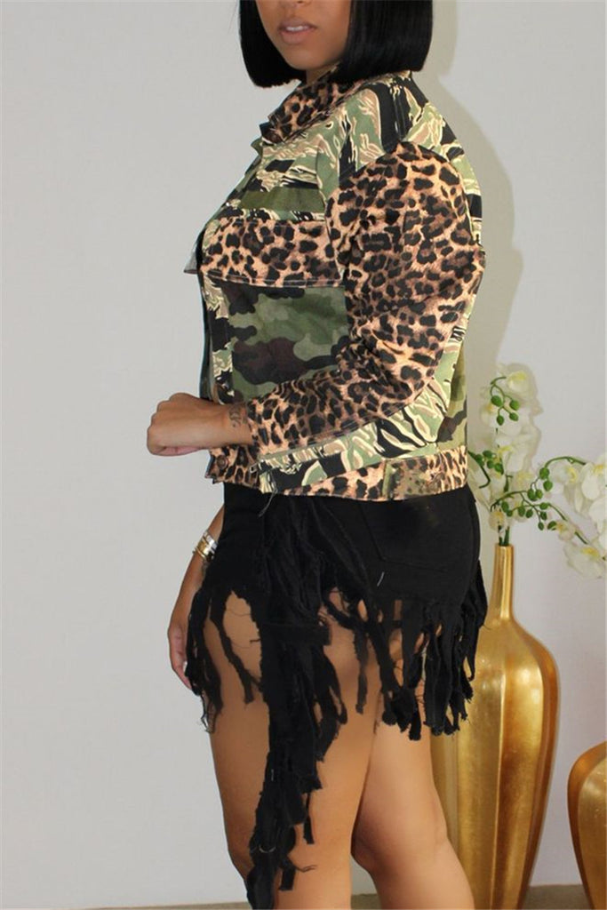 Camouflage & Leopard Print Long Sleeve Jacket