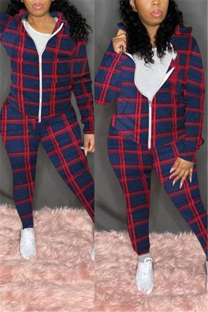 Plaid & Camouflage Print Hooded Two Piece Sets