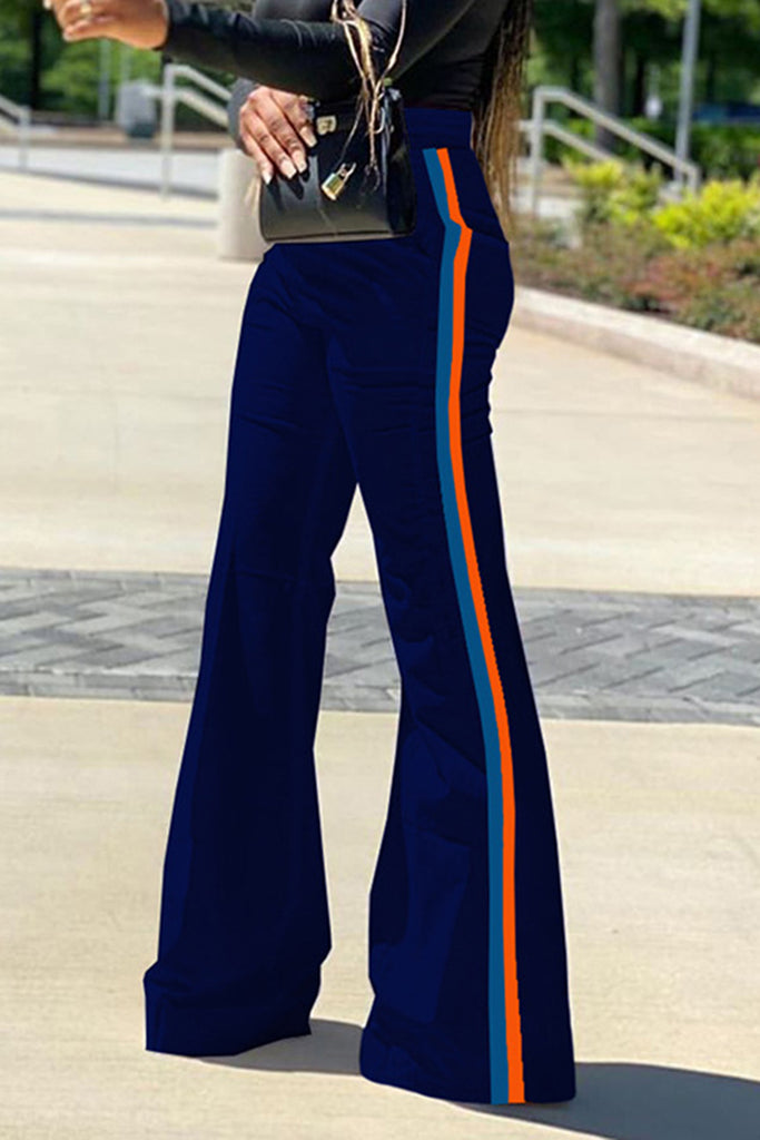 Side Striped Flared High Waist Pants