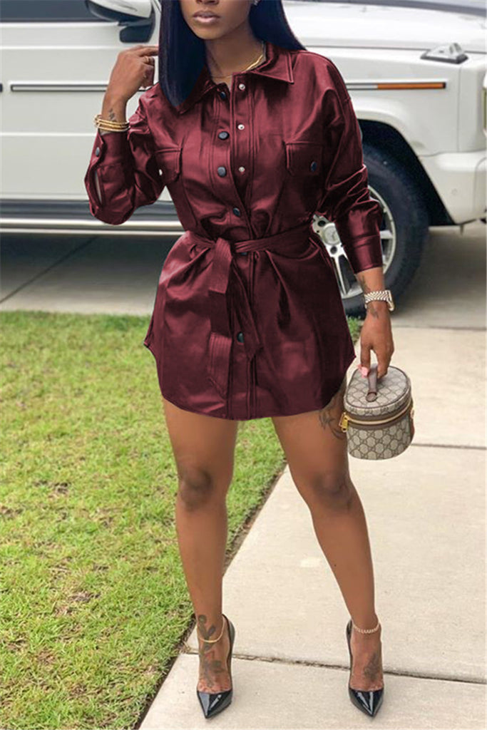 Button Up Long Sleeve PU Dress