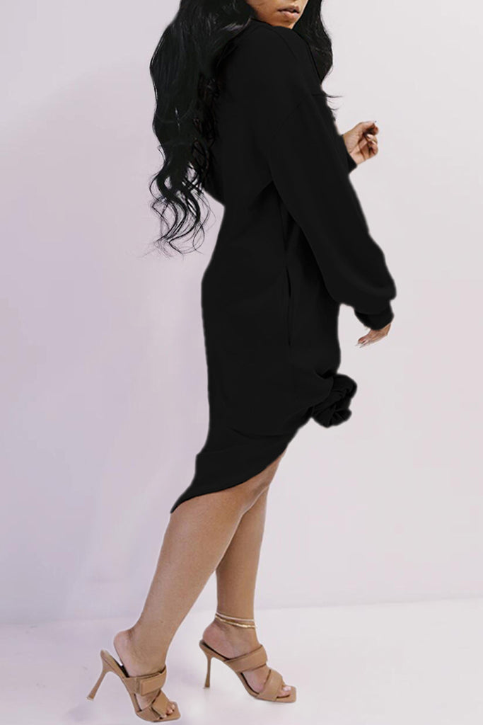 Twisted Hooded Collar Long Sleeve Dress