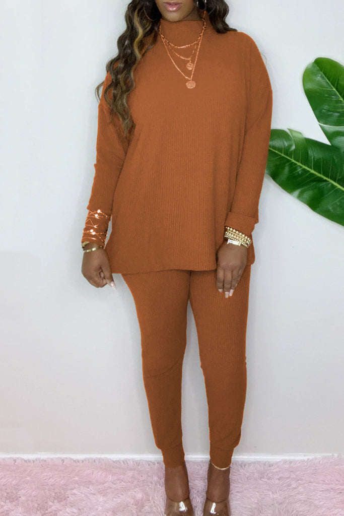 High Neck Solid Color Two Piece Sets