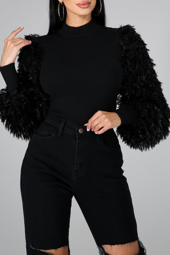 Solid High Neck Feather Sleeve Top