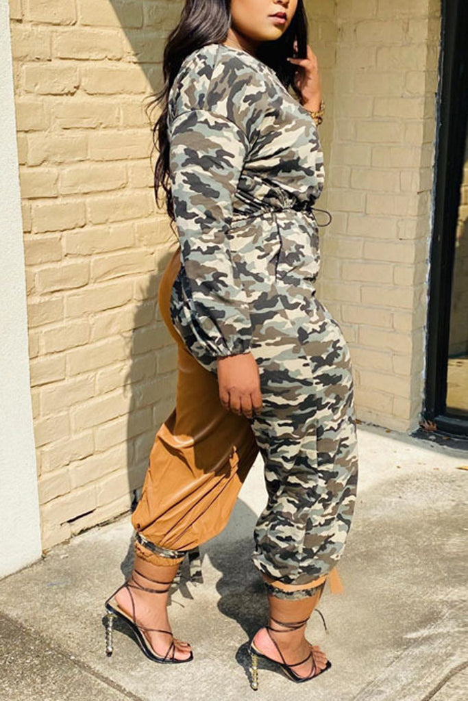 Camouflage Patchwork Drawstring Two Piece Sets