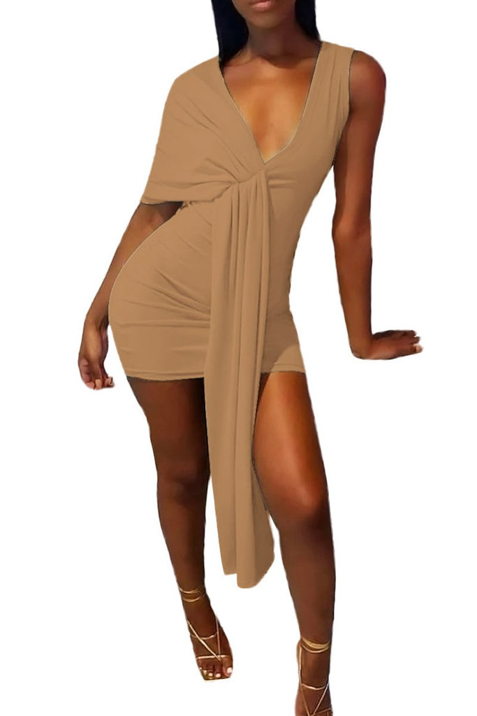 Wrinkled Tie Up Irregular Mini Dress