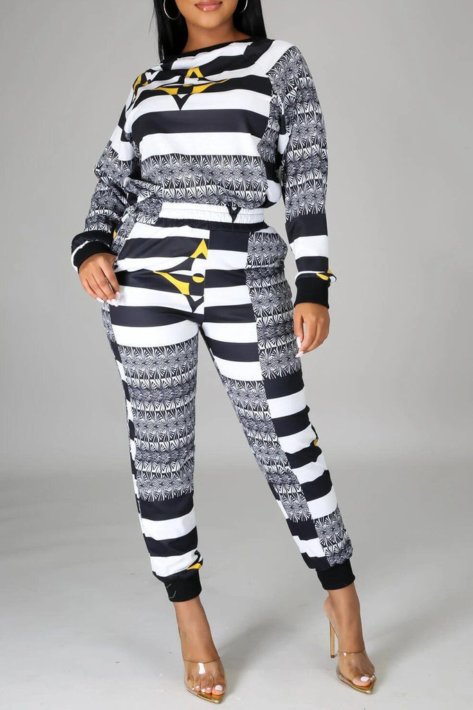 Stripe Printed Long Sleeve Two Piece Sets