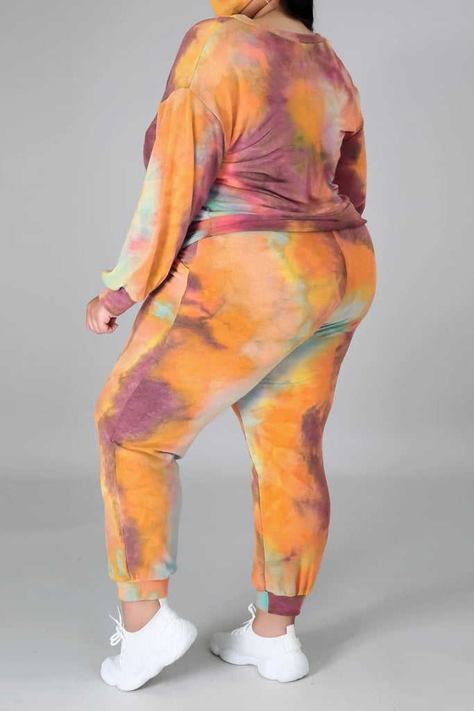 Tie Dye Plus Size Tie Up Two Piece Sets