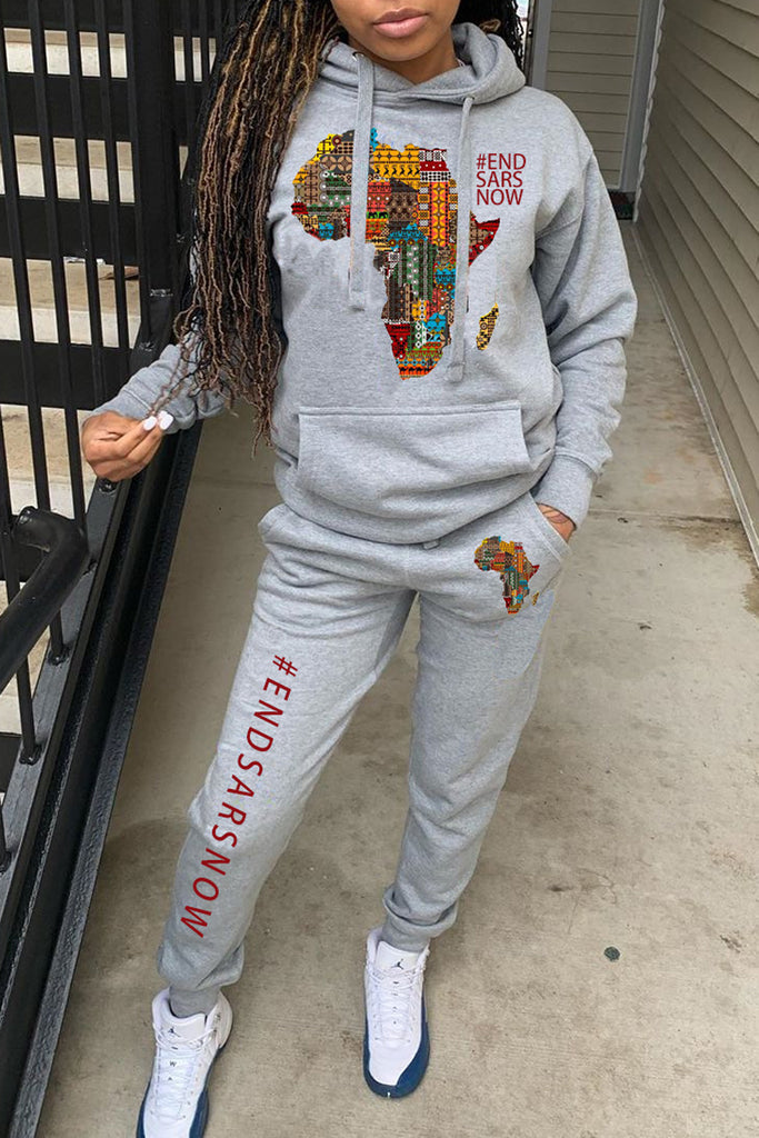 African Map Printing Hooded Top & Pants
