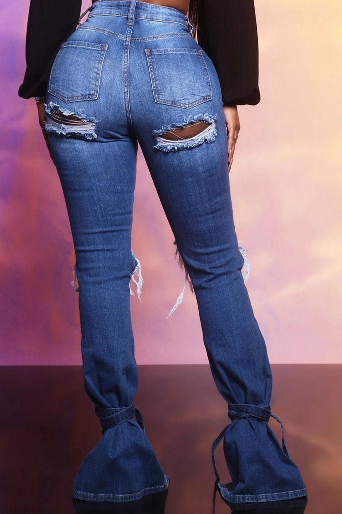 Plus Size Denim Hole Distressed Strapped Flared Jeans