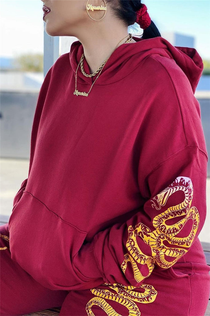 Dragon Embroidered Hooded Collar Casual Two Piece Sets