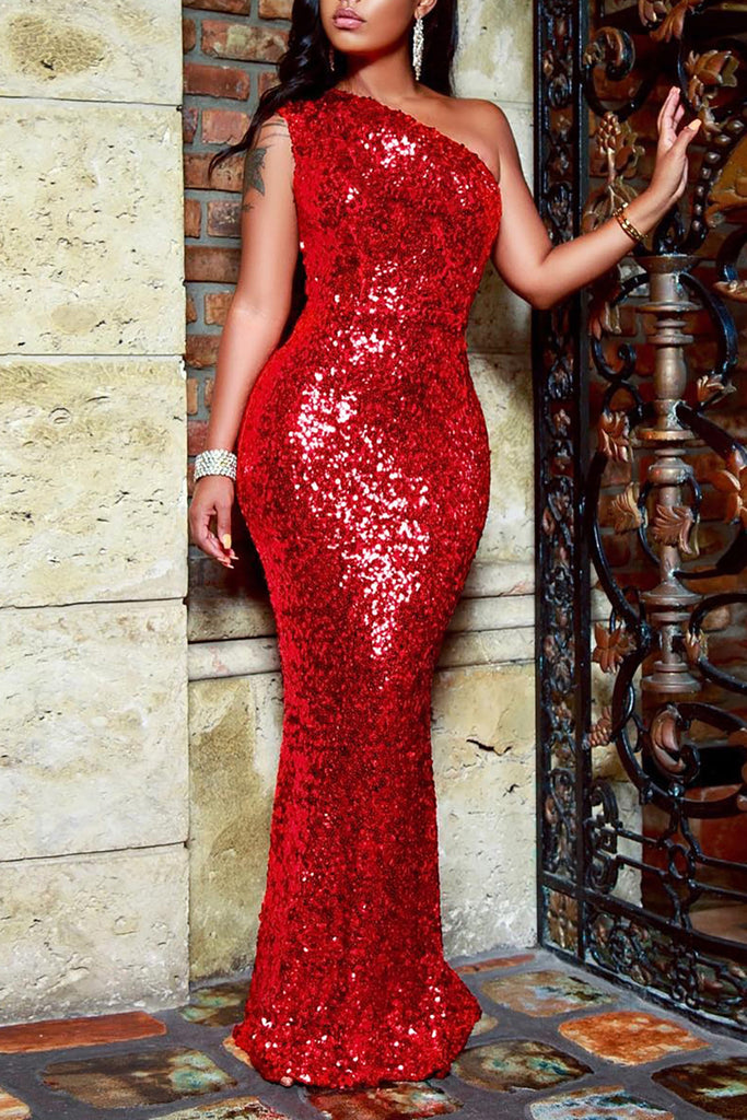 Sequined One Shoulder Mermaid Dress