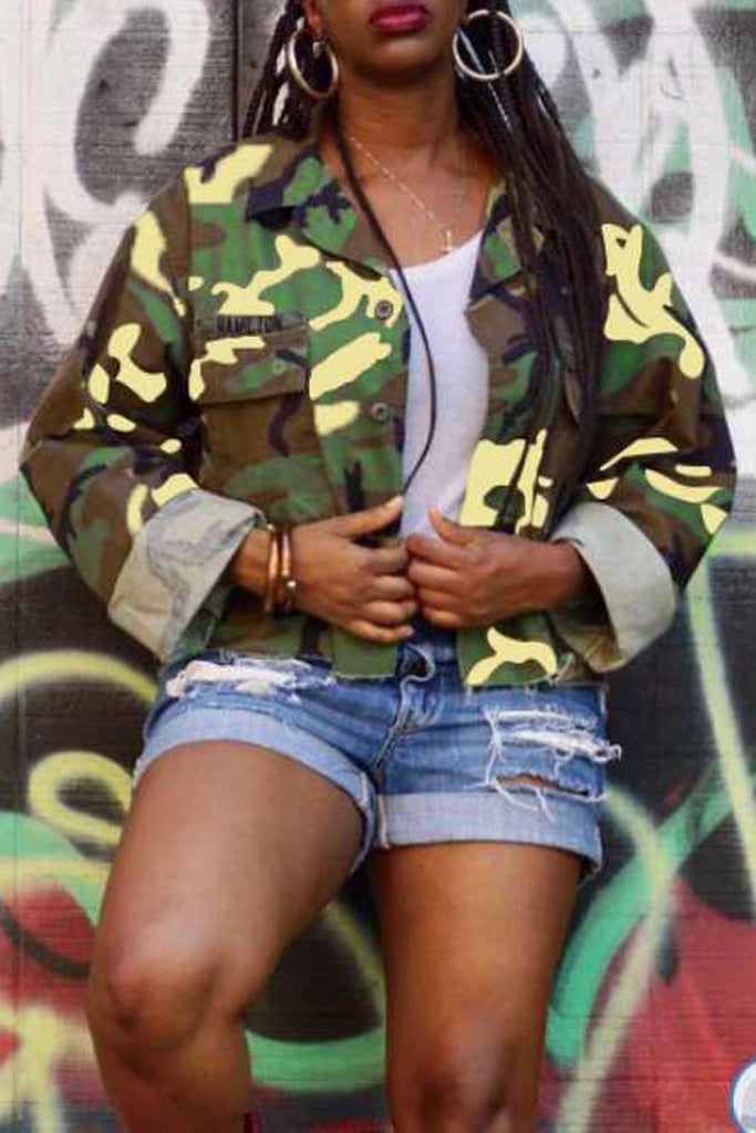 Camouflage Printed Button Up Short Coat