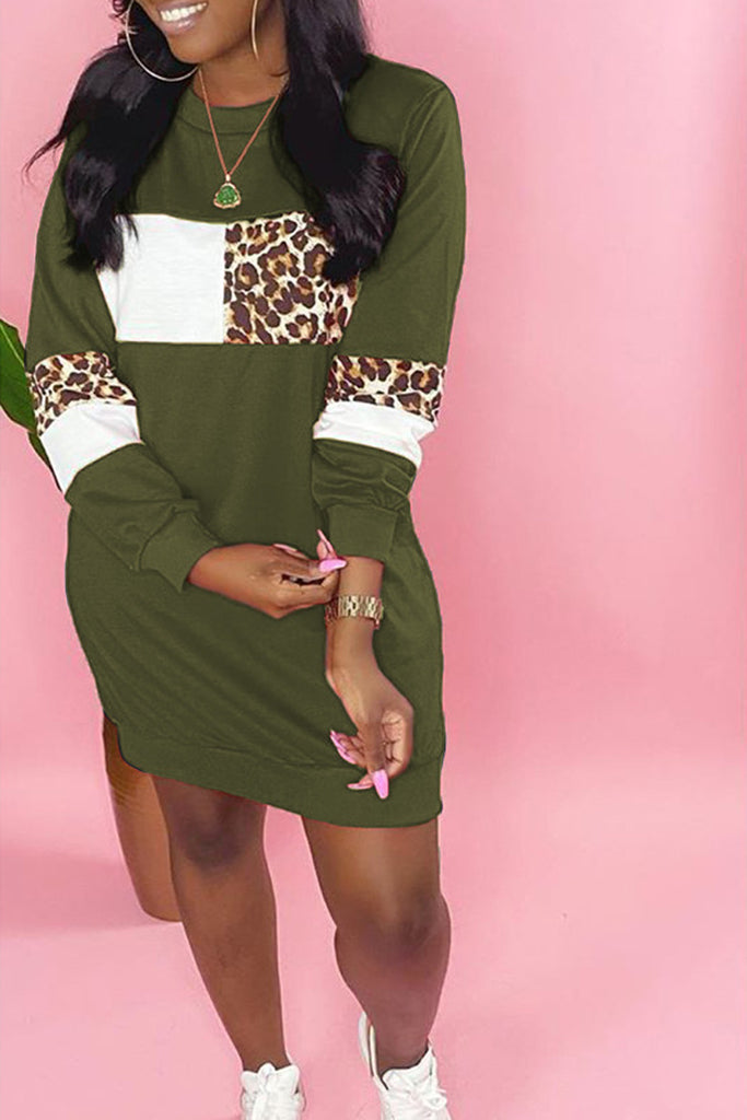 Leopard Patchwork Plus Size Mini Dress