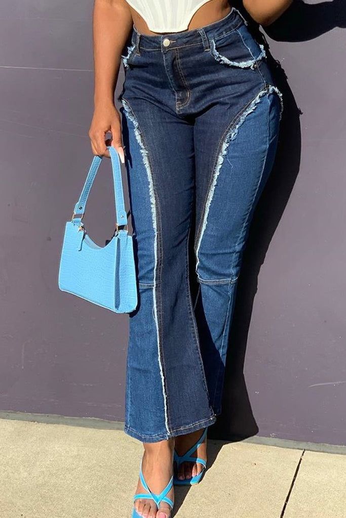 Denim Patchwork Flared Button Jeans