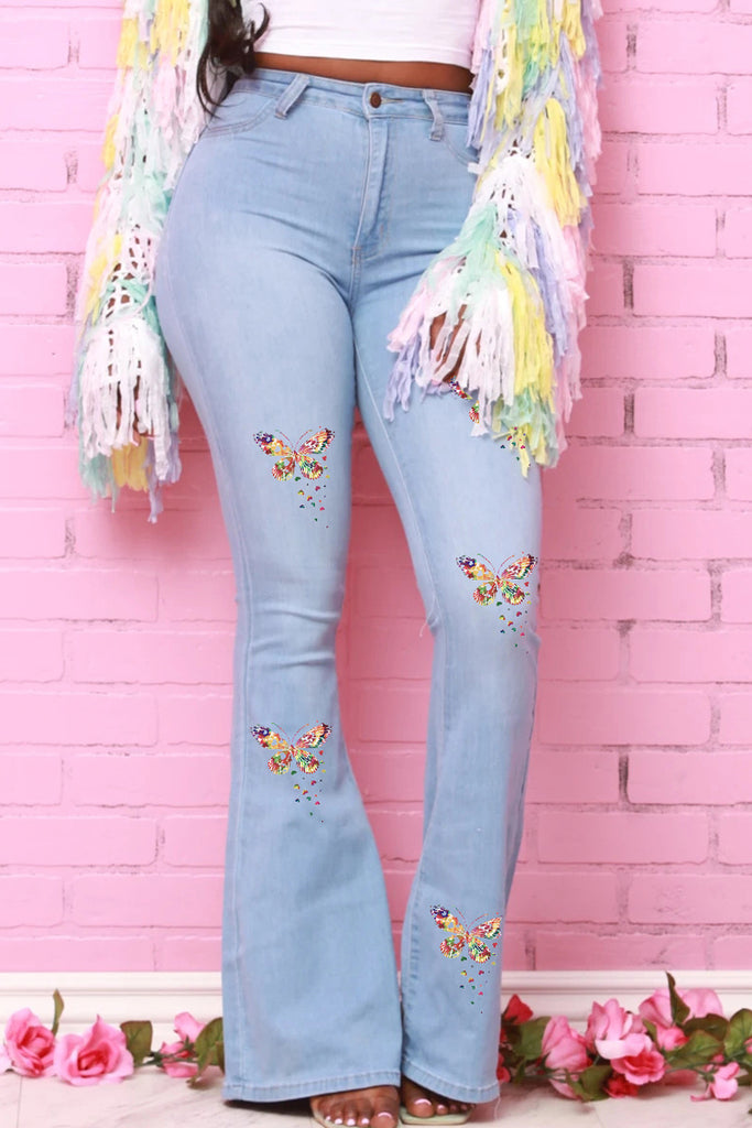 Denim Butterfly Print High Waist Flared Jeans