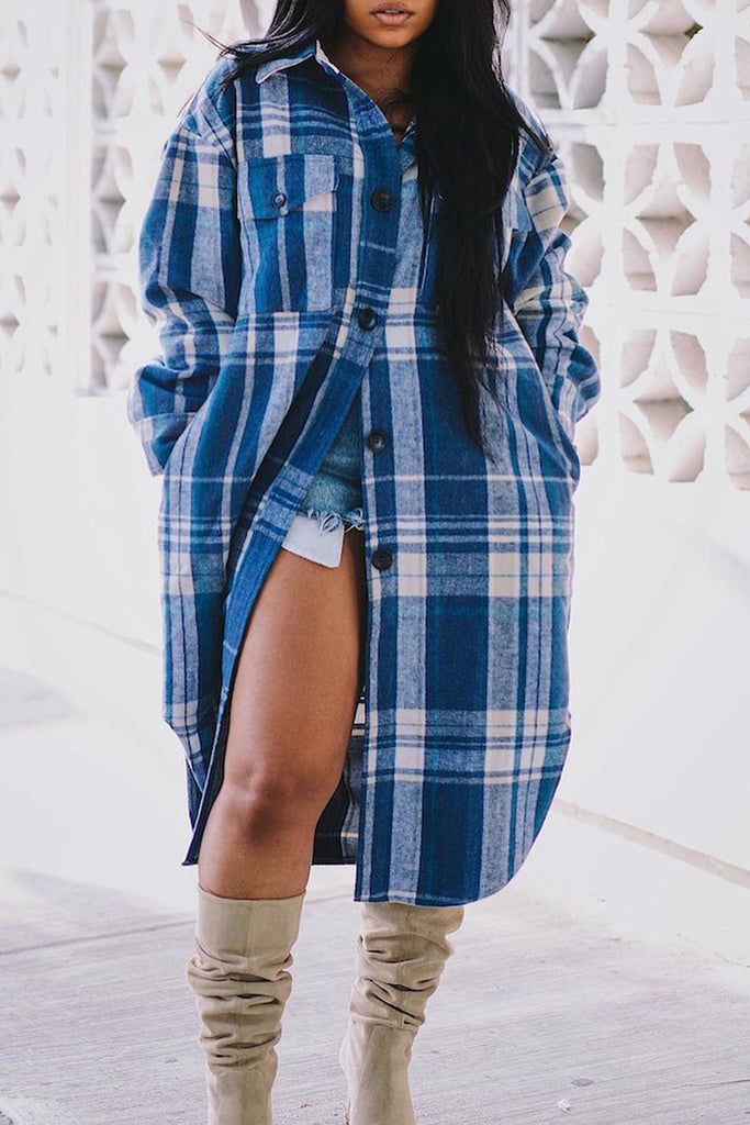 Plaid Printed Pocket Button Long Shirt