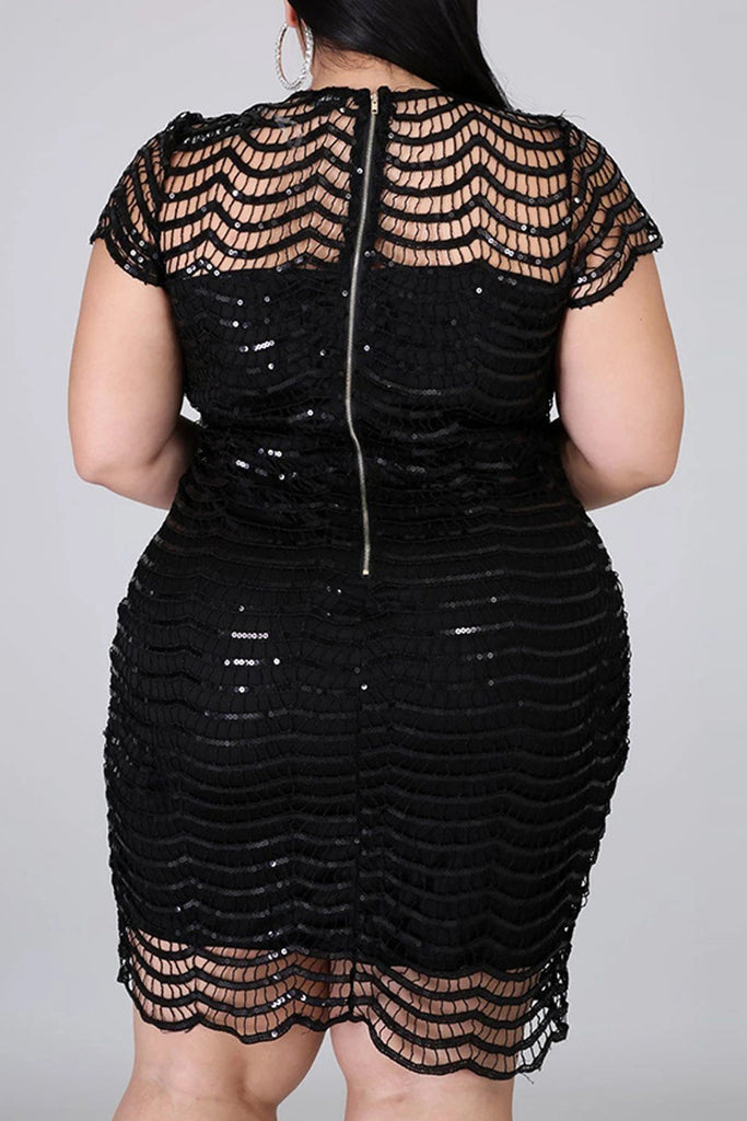 Plus Size Hollow Out Sequined Mini Dress