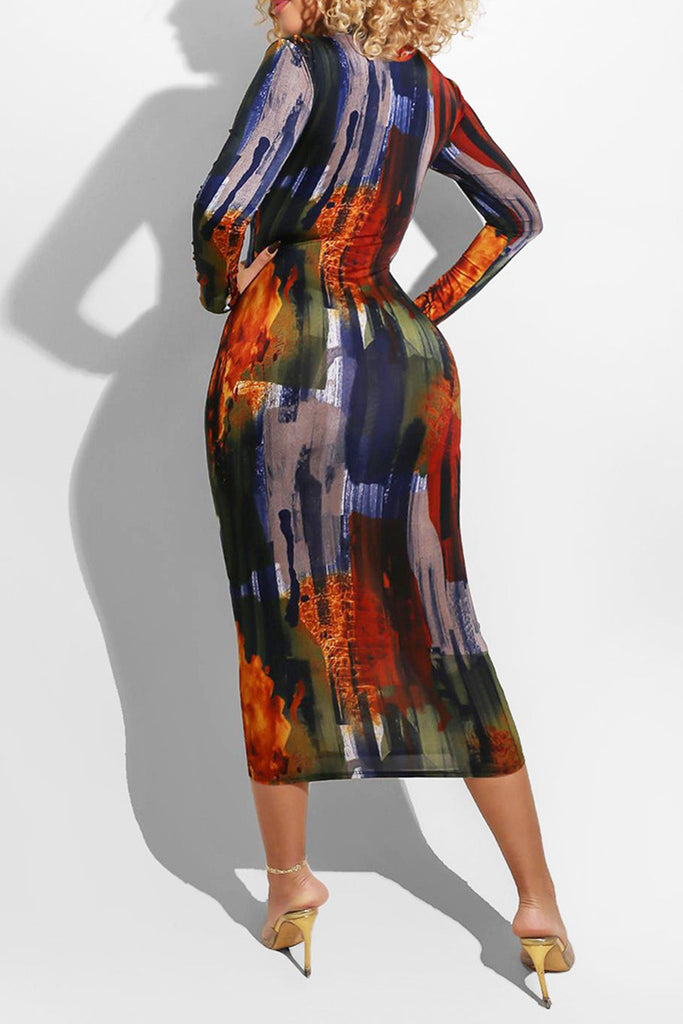 Digital Printed Long Sleeve Midi Dress