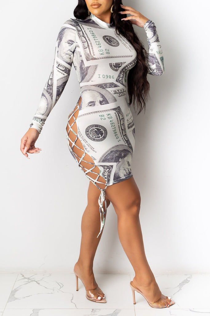 Digital Print Side Bandage Bodycon Mini Dress