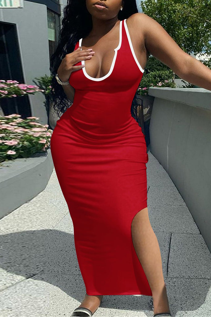 Side Slit Scoop Neck Sleeveless Maxi Dress