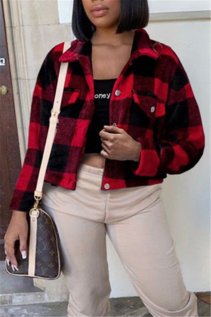 Button Up Long Sleeve Plaid Jacket