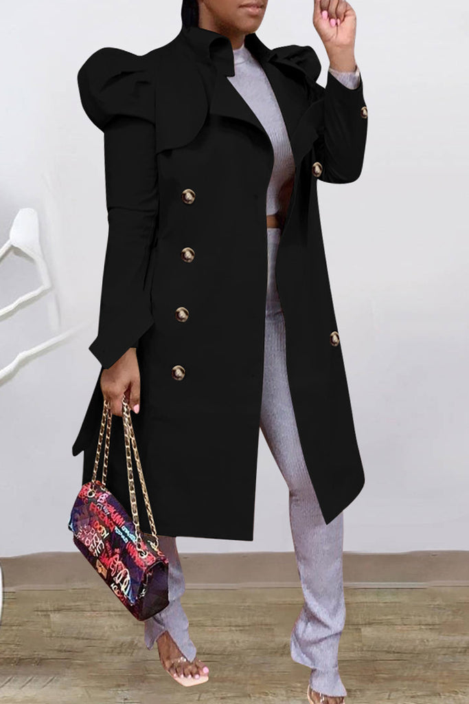 Puff Sleeve Turn-Down Collar Wind Coat