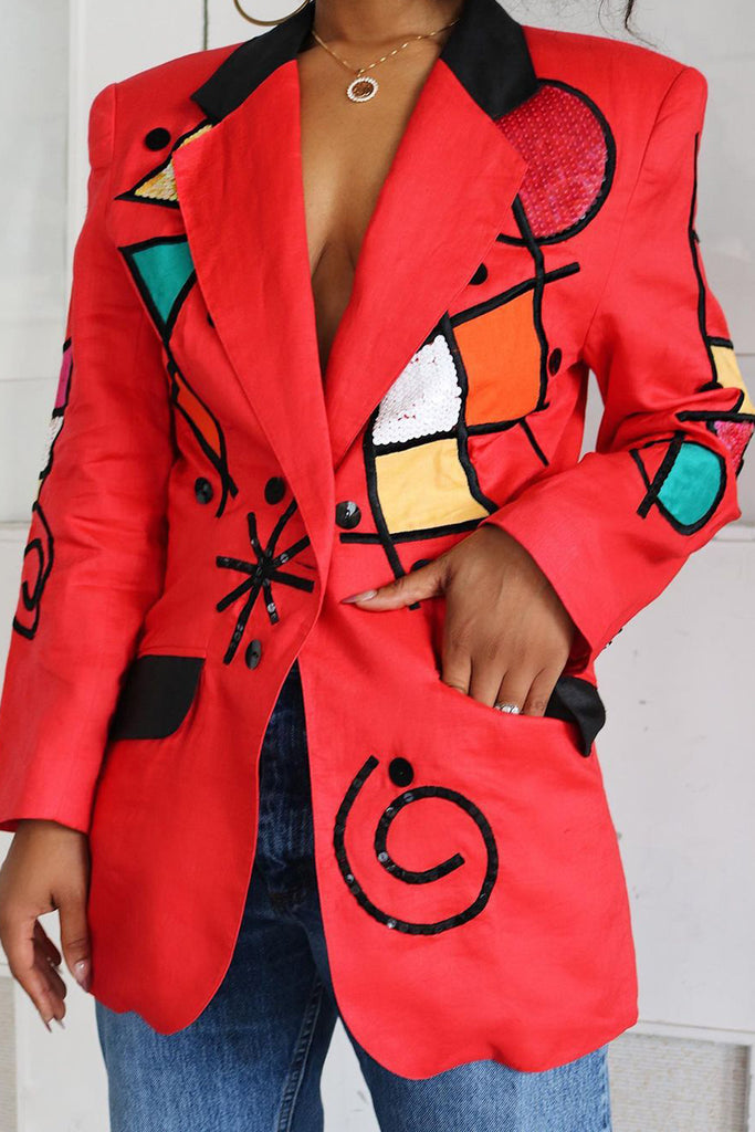 Embroidered Turn-Down Collar Suit Jacket