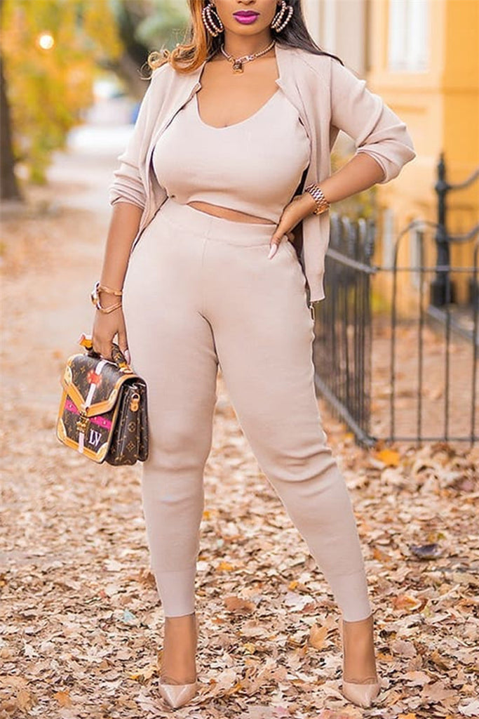 Solid Color Long Sleeve Three Piece Sets
