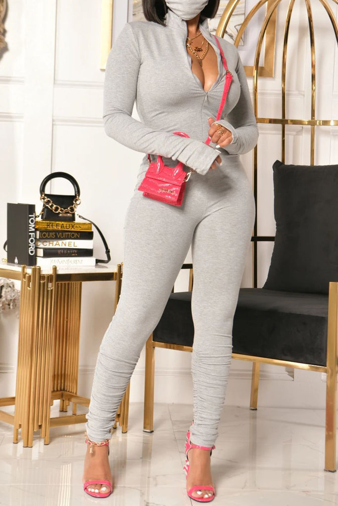 Solid Color Zipper Collar Wrinkled Jumpsuit
