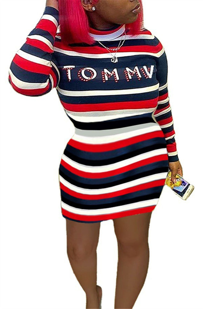 Letter Print Long Sleeve Striped Dress