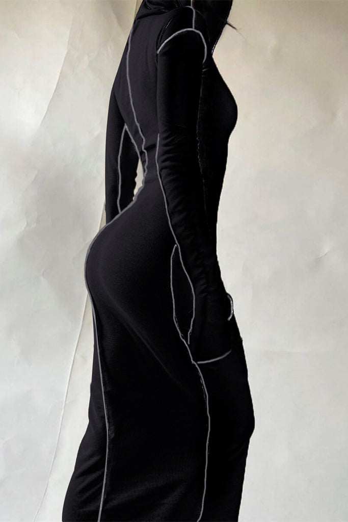 Hooded Collar Long Sleeve Maxi Dress
