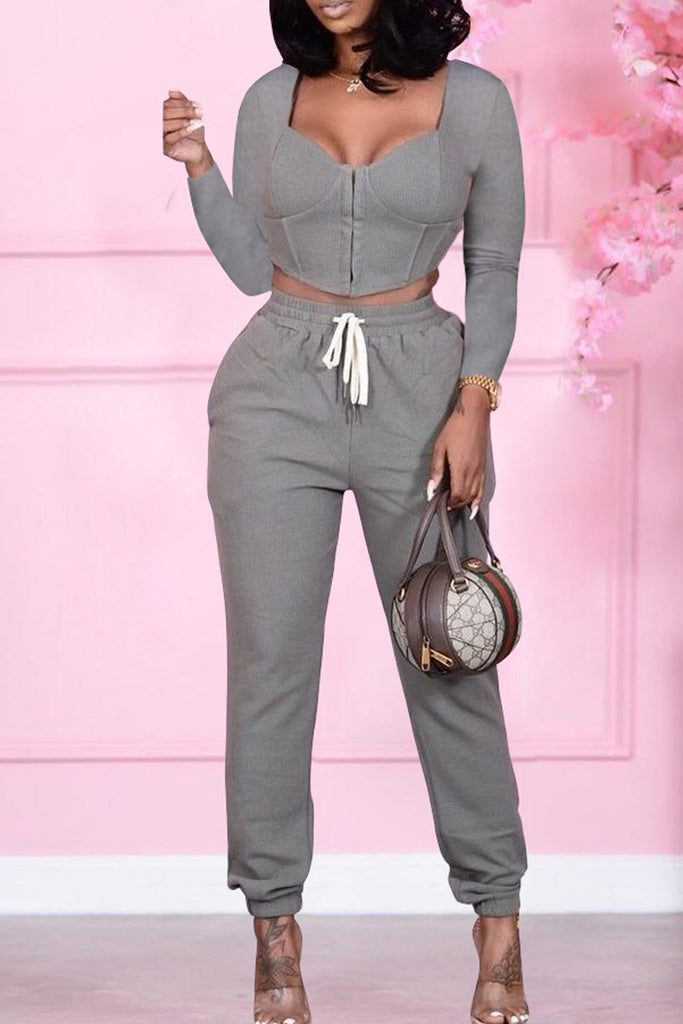 Solid Zipper Square Collar Two Piece Sets