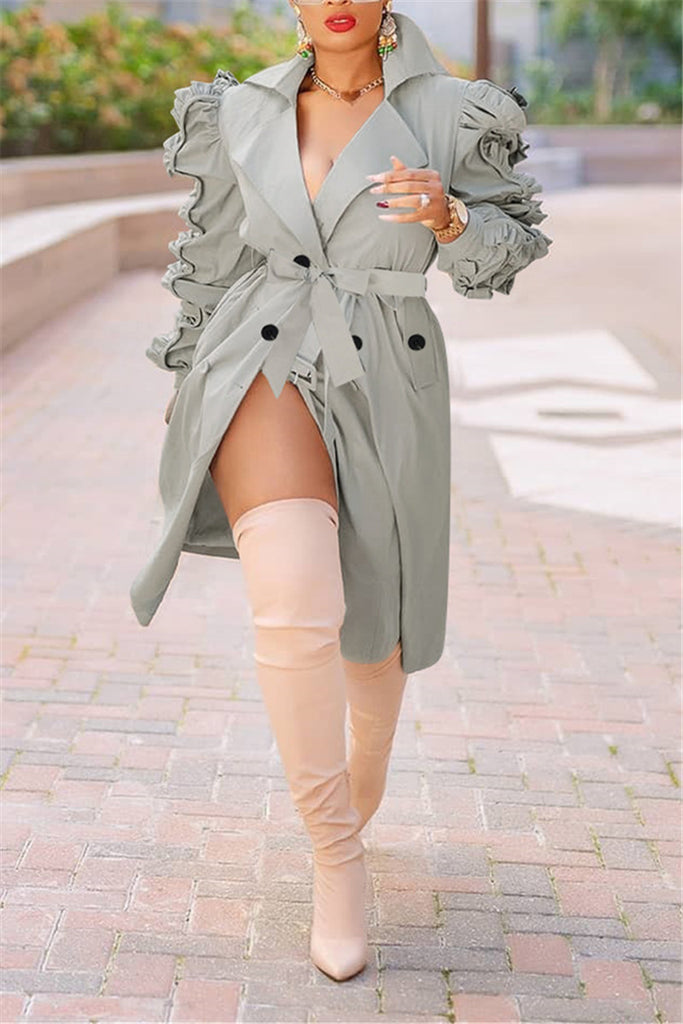Ruffle Sleeve Turndown Collar Belted Trench Coat