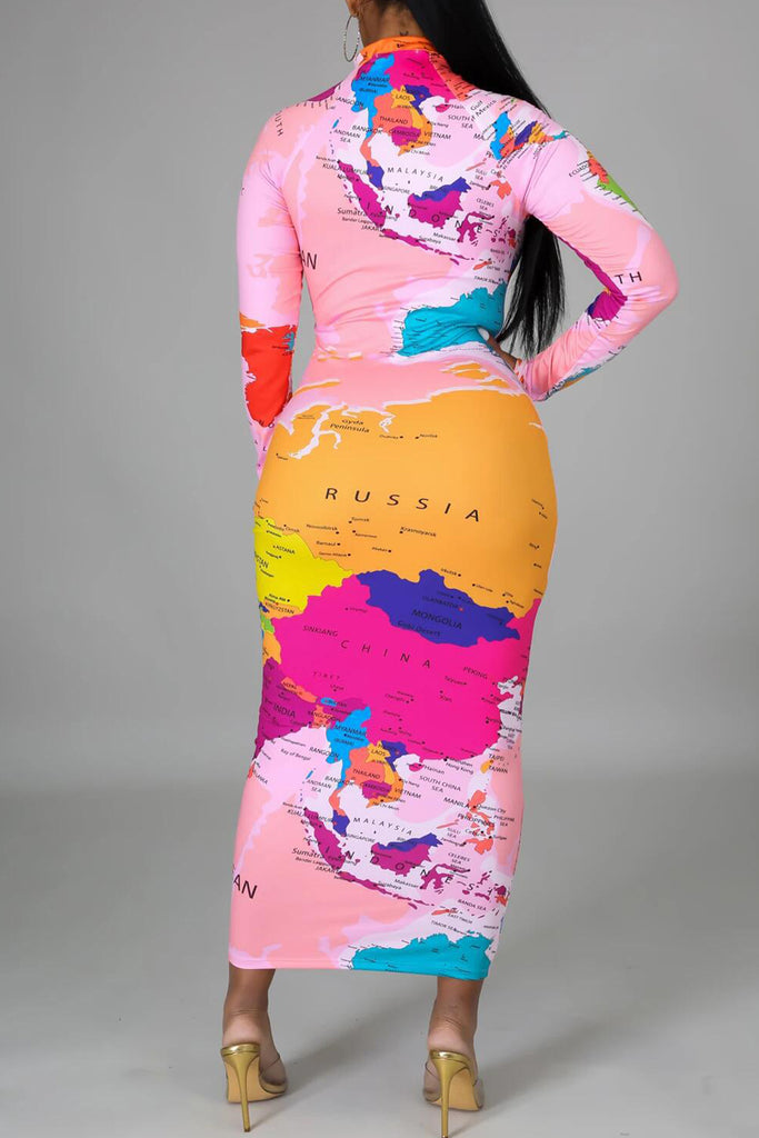 Map Print Long Sleeve Maxi Dress