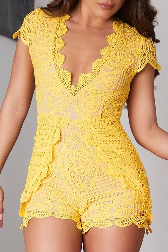 See-through Lace V-neck Solid Color Romper