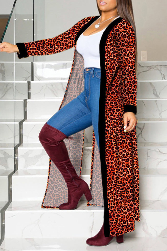 Leopard Print Side Slit Long Sleeve Coat