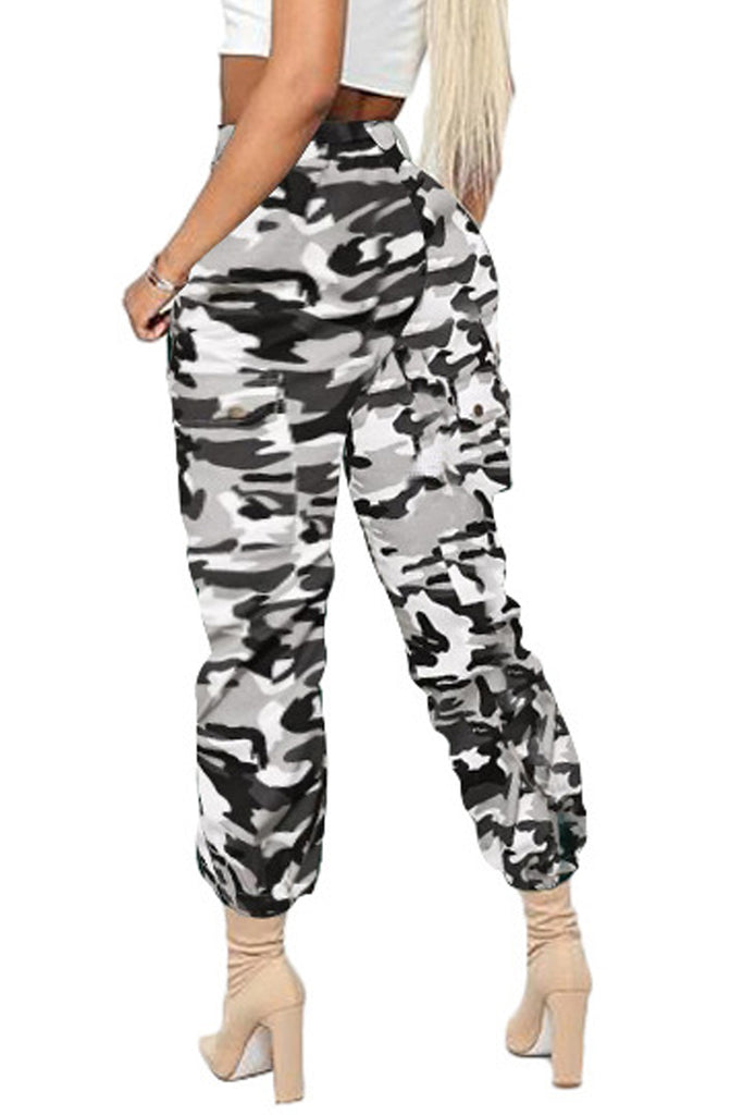 Camouflage Print Pocket Belted Pants