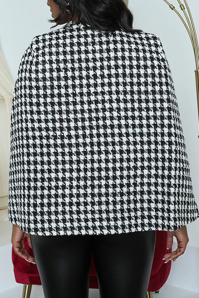 Houndstooth Print Slit Lace-up Coat