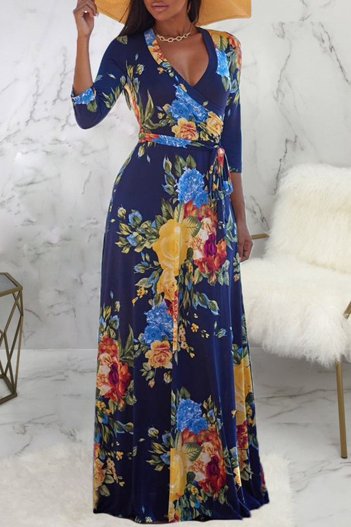 Deep V Neck Digital Print Lace-up Maxi Dress