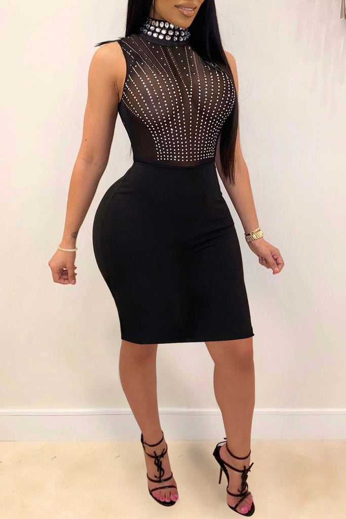Hot Drilling High Neck See-through Midi Dress